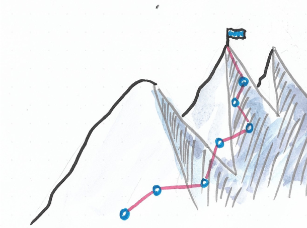 mountain with route